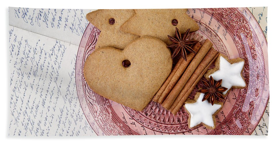 Ginger Bath Towel featuring the photograph Christmas Gingerbread by Nailia Schwarz
