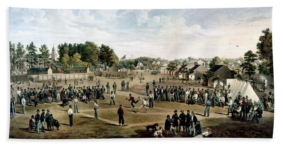 1863 Bath Sheet featuring the photograph Civil War: Union Prisoners by Granger