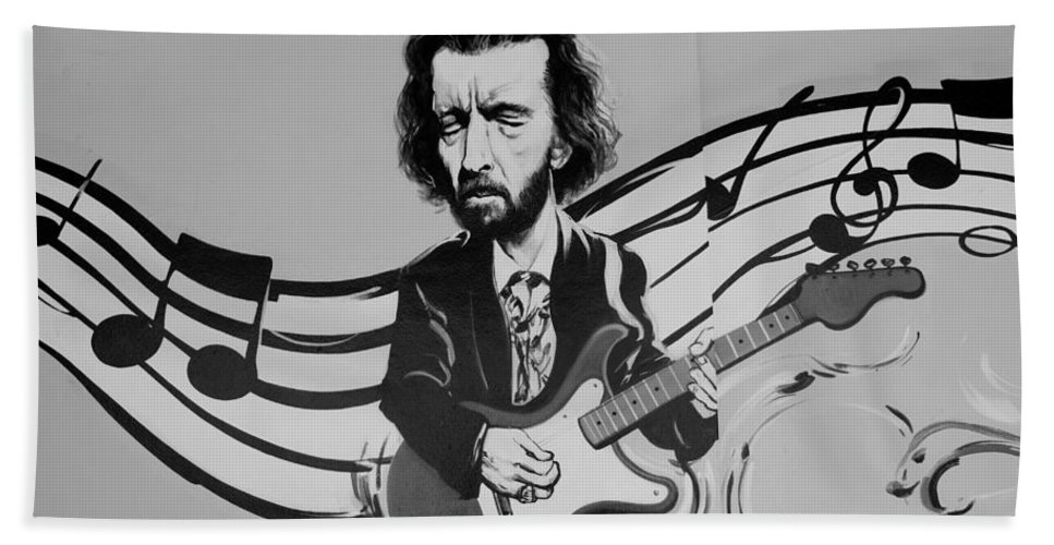 Eric Clapton Hand Towel featuring the photograph Clapton In Black And White by Rob Hans