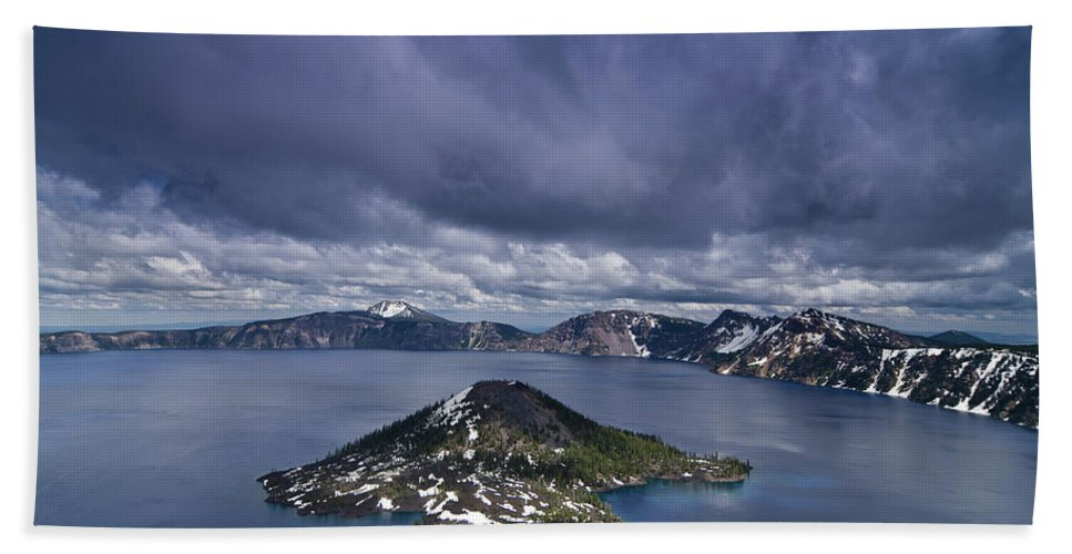 Cascades Bath Sheet featuring the photograph Clouds Over Crater Lake by Greg Nyquist