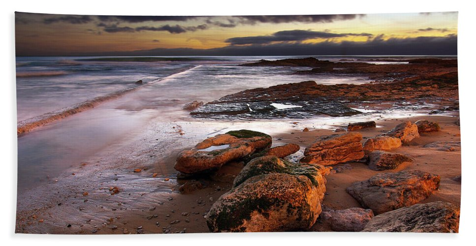 Background Bath Sheet featuring the photograph Coastline At Twilight by Carlos Caetano