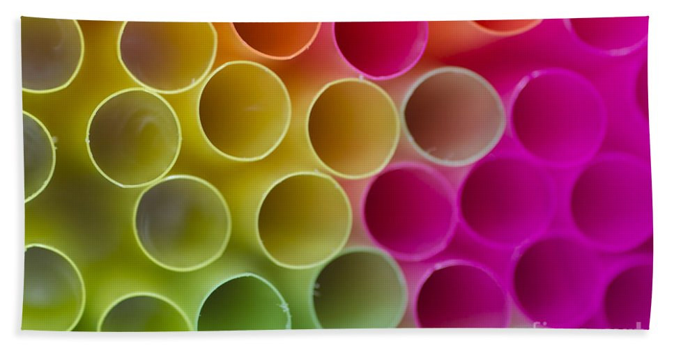 Straws Hand Towel featuring the photograph Colorful Straws by Mats Silvan