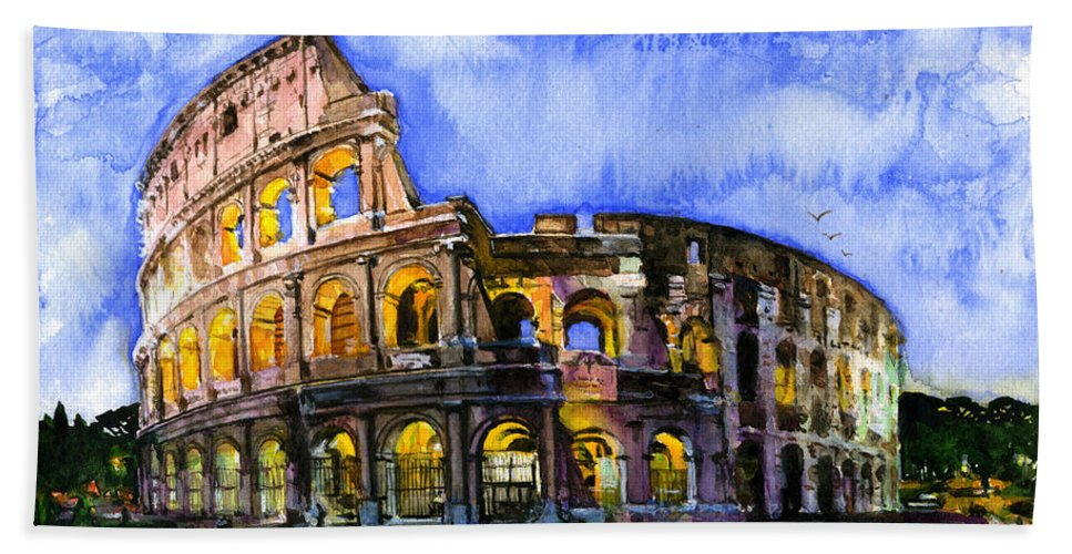 Colosseum Hand Towel featuring the painting Colosseum by John D Benson