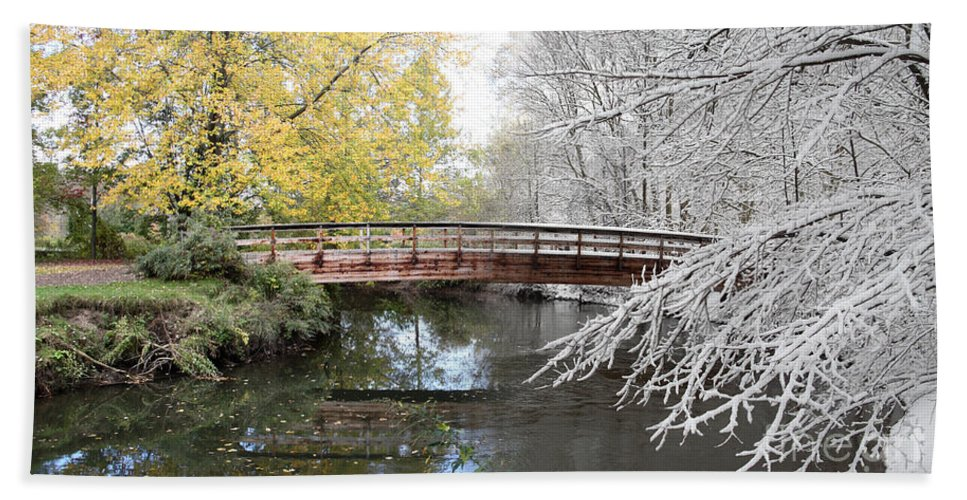 Composite Hand Towel featuring the photograph Composite Of Fall And Winter by Ted Kinsman
