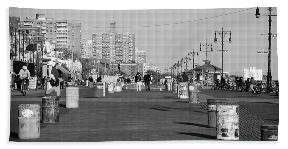 Brooklyn Bath Sheet featuring the photograph Coney Island Boardwalk In Black And White by Rob Hans