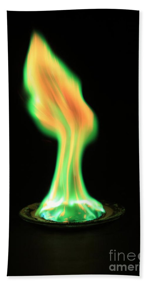 Copper(ii) Chloride Hand Towel featuring the photograph Copperii Chloride Flame Test by Ted Kinsman