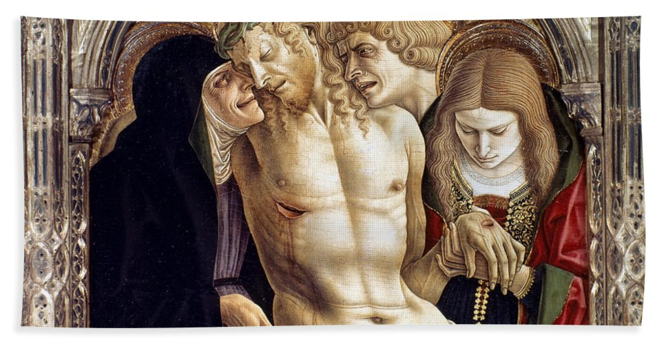 1472 Hand Towel featuring the photograph Crivelli: Pieta by Granger