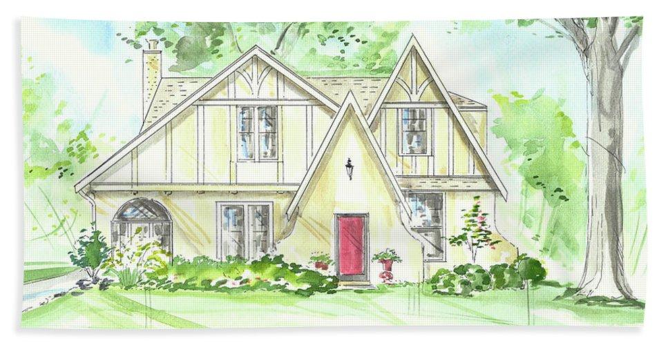 House Rendering Bath Sheet featuring the painting Custom House Rendering Sample by Lizi Beard-Ward