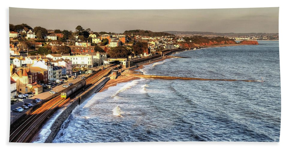 The Sea Wall At Dawlish Carrying The London Penzance Main Line Railway Bath Sheet featuring the photograph Dawlish Sea Wall by Rob Hawkins