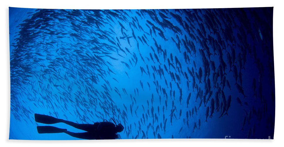 Fish Bath Sheet featuring the photograph Diver And A Large School Of Bigeye by Steve Jones