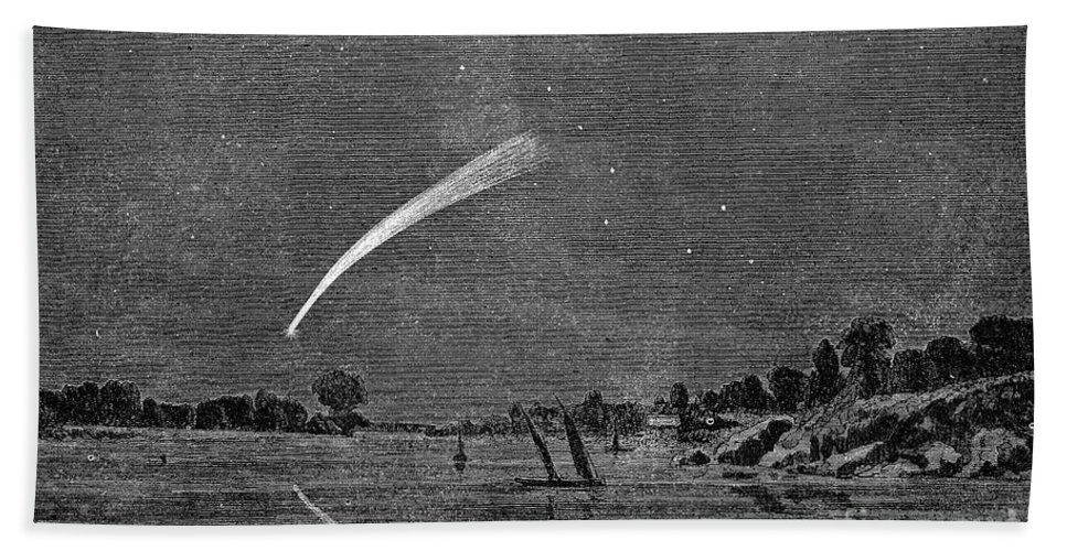 1858 Hand Towel featuring the photograph Donatis Comet, 1858 by Granger