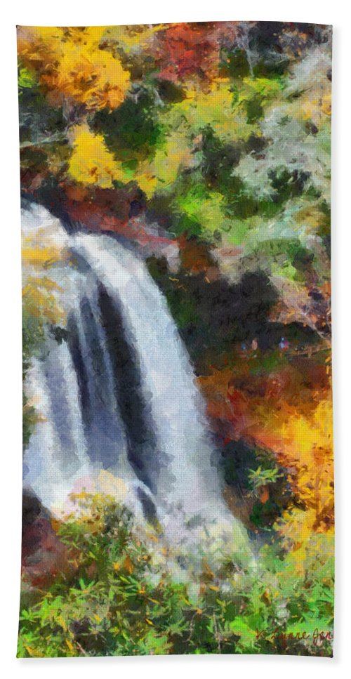 Autumn Hand Towel featuring the painting Dry Falls by Lynne Jenkins