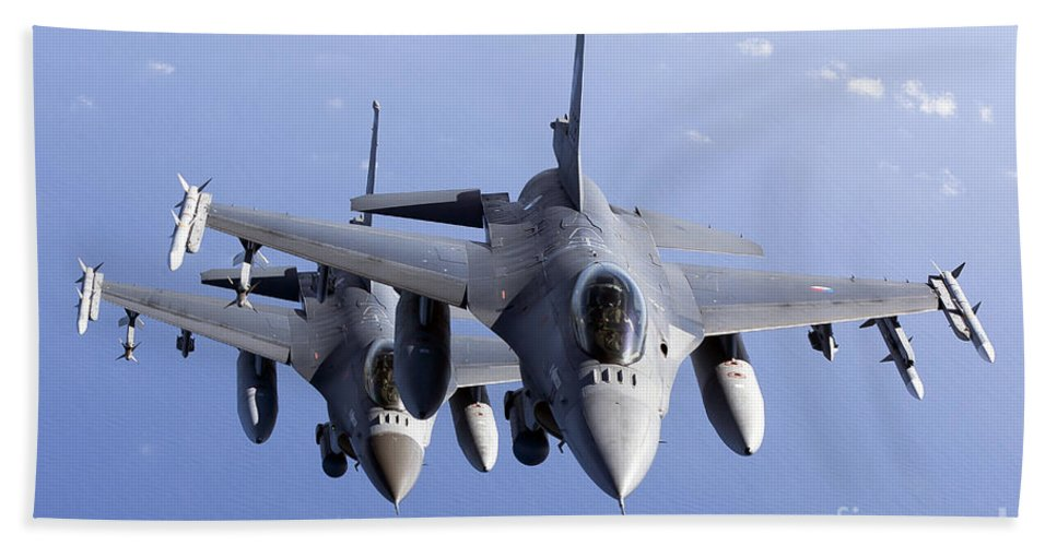 Aim-120 Bath Sheet featuring the photograph Dutch F-16ams During A Combat Air by Gert Kromhout