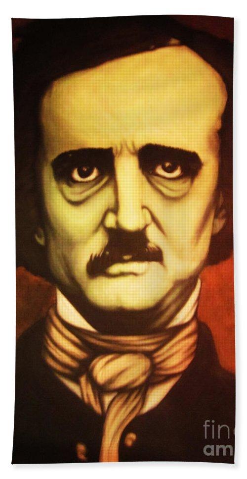 Edgar Allan Poe Hand Towel featuring the painting Edgar Allan Poe by Justin Coffman