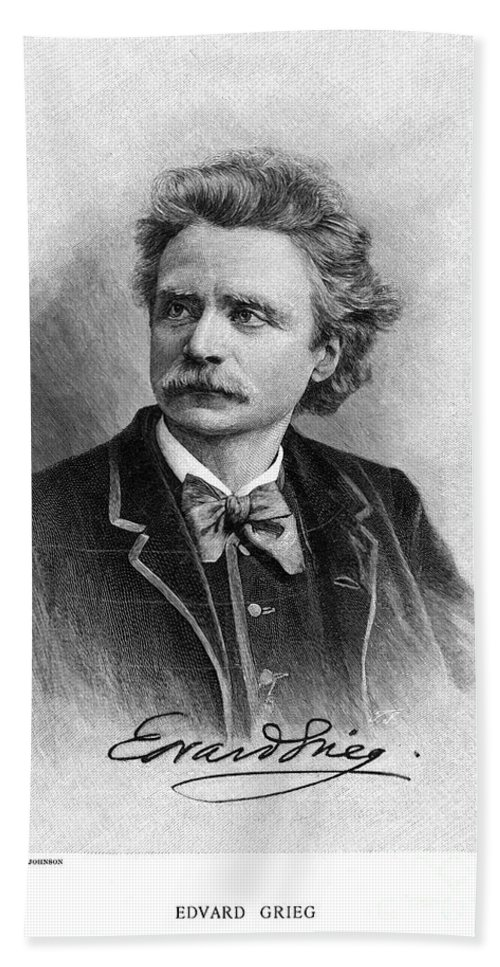 19th Century Hand Towel featuring the photograph Edvard Grieg (1843-1907) by Granger