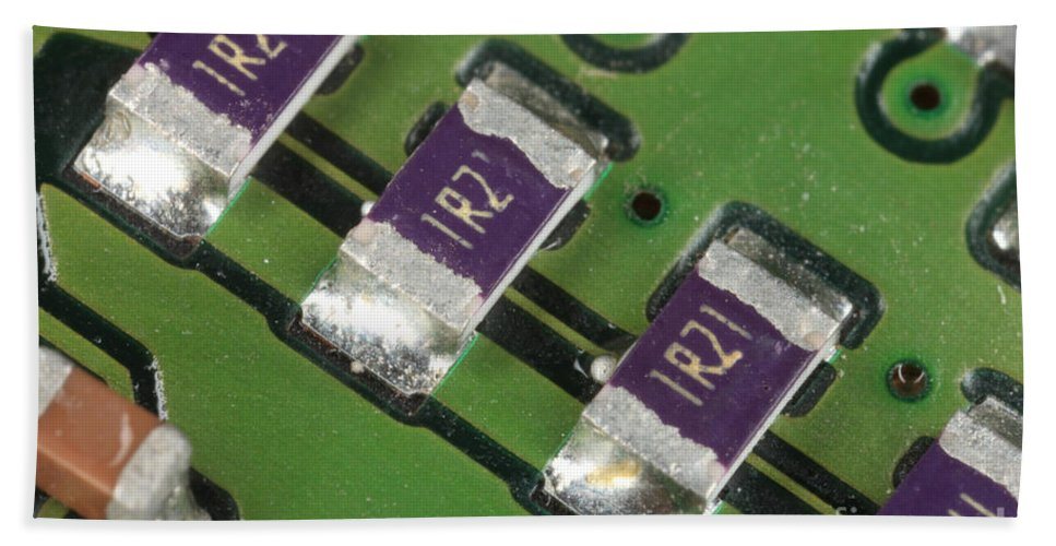 Electronics Board Hand Towel featuring the photograph Electronics Board With Lead Solder by Ted Kinsman