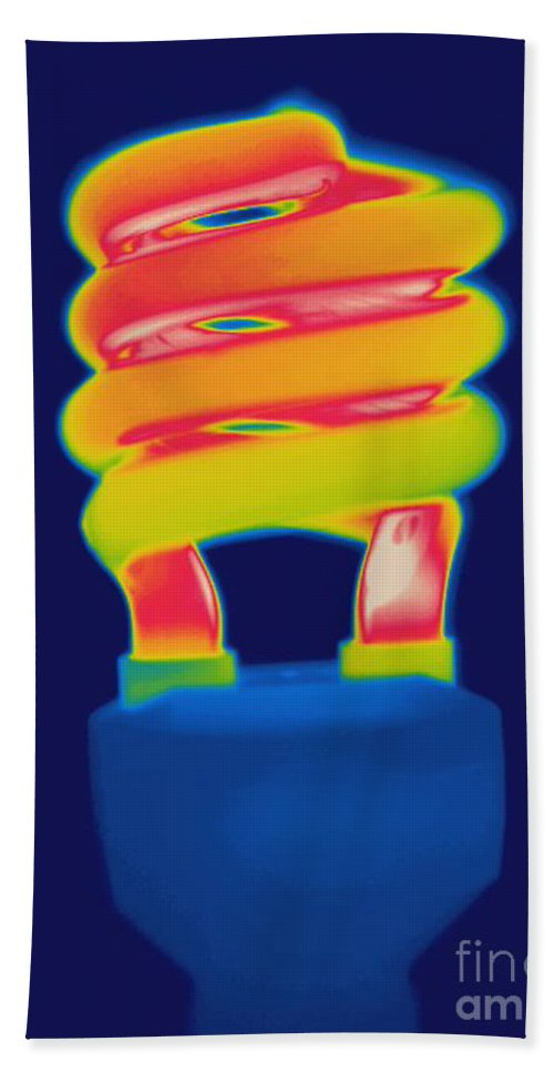 Thermogram Hand Towel featuring the photograph Energy Efficient Fluorescent Light by Ted Kinsman