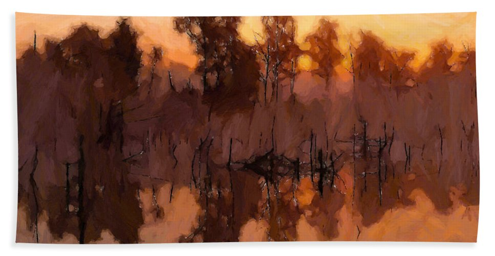 Lake Evening Sunset Sun Dawn Dusk Tree Trres Nature Landscape Oil Painting Water Bath Sheet featuring the painting Evening At The Lake by Steve K