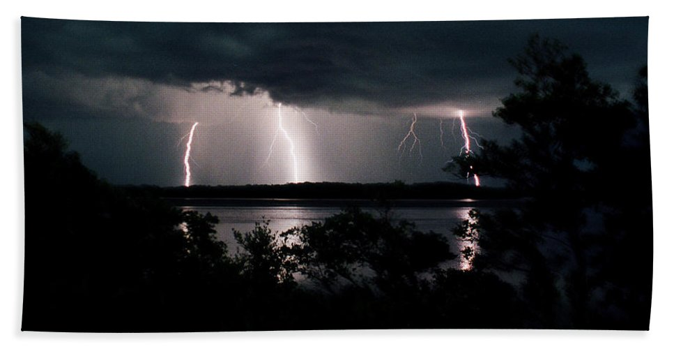 Lightning Bath Sheet featuring the photograph Everglades Triple Threat by La Rae Roberts