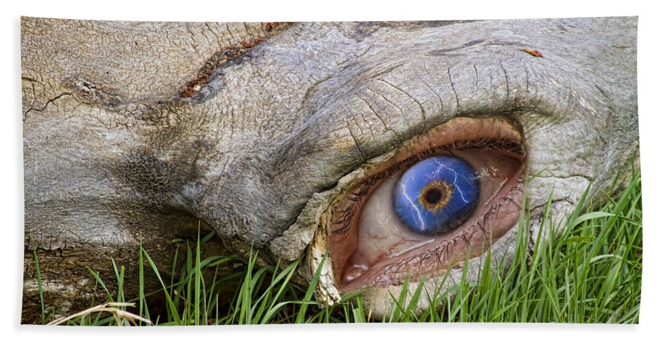 'eye Of A Dinosaur' Hand Towel featuring the photograph Eye Of A Dinosaur Lightning by James BO Insogna