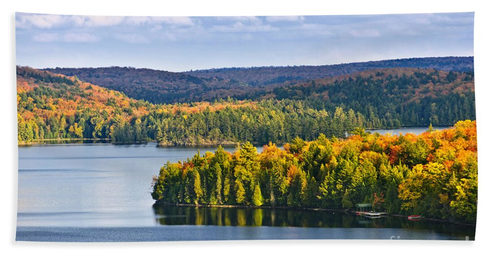 Forest Bath Sheet featuring the photograph Fall Forest And Lake by Elena Elisseeva