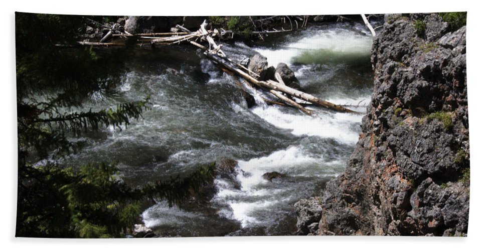 Beautiful Rapids Fast Flowing Firehole River Yellowstone National Park Wyoming Usa Bath Sheet featuring the photograph Fast Moving Firehole River by Paul Cannon