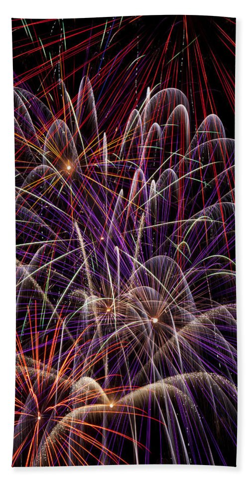 Fireworks 4th Of July Bath Sheet featuring the photograph Fireworks by Garry Gay