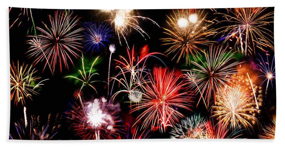 Fireworks Hand Towel featuring the photograph Fireworks Medley by La Rae Roberts