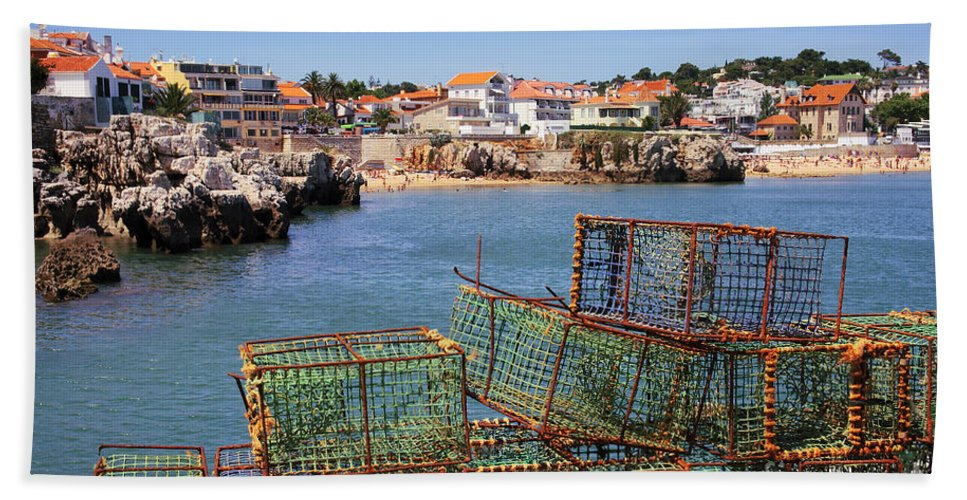Anchored Bath Sheet featuring the photograph Fishing Traps by Carlos Caetano