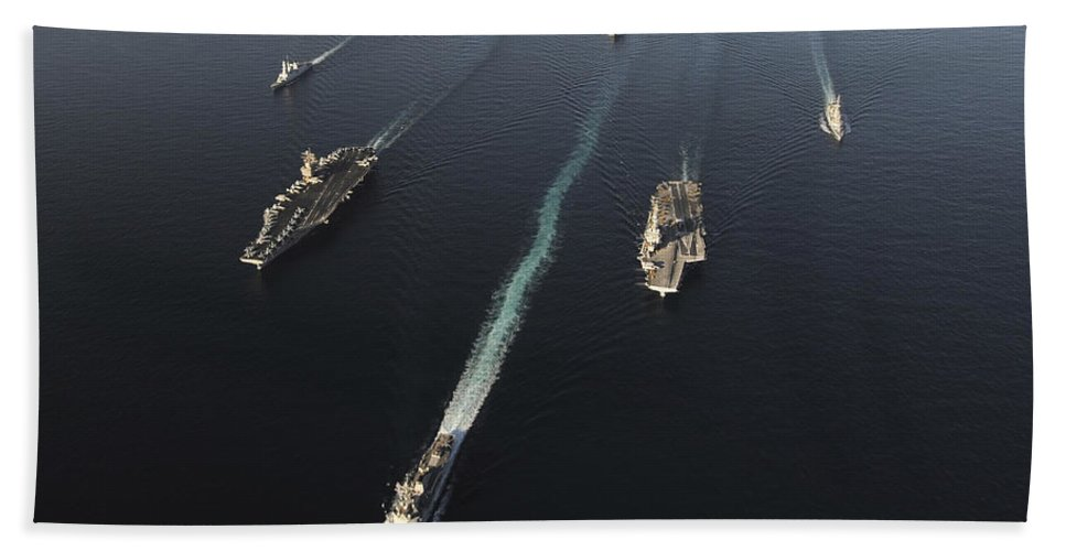 Horizontal Bath Sheet featuring the photograph Fleet Of Navy Ships Transit The Arabian by Stocktrek Images