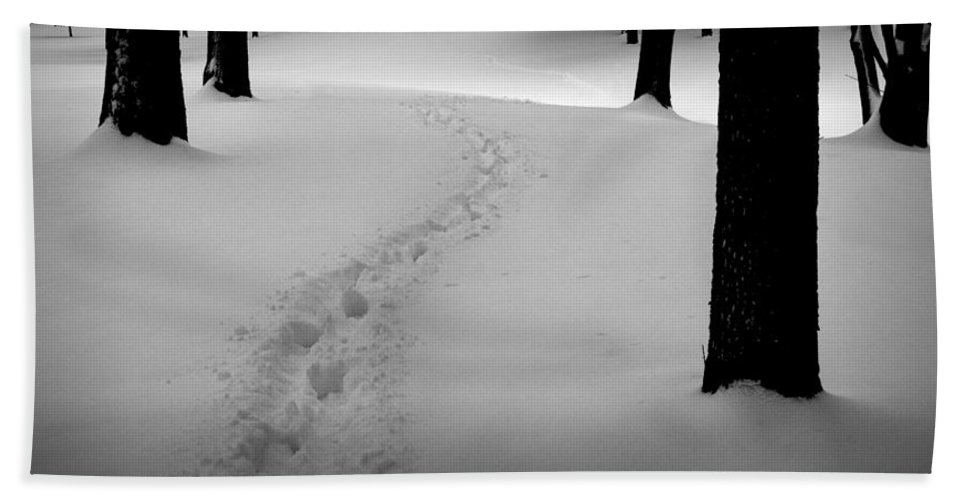 Snow Hand Towel featuring the photograph Footprint Trail Through The Snow In The Woods by Randall Nyhof