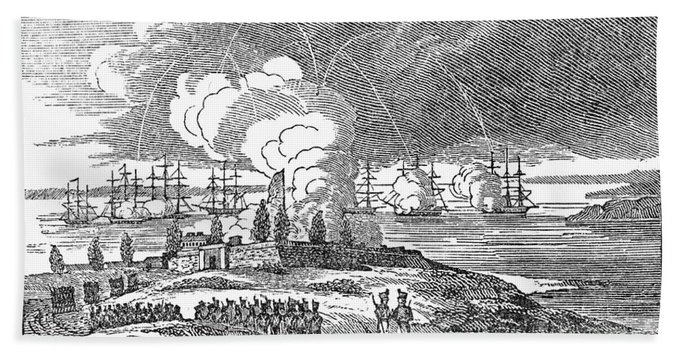 1814 Hand Towel featuring the photograph Fort Mchenry, 1814 by Granger