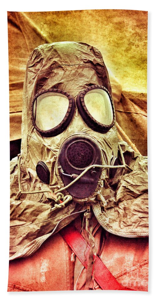 Mask Hand Towel featuring the photograph Gas Mask by Jill Battaglia