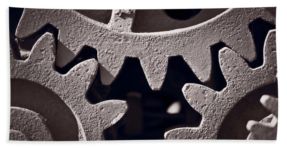 Gear Bath Sheet featuring the photograph Gears Number 2 by Steve Gadomski