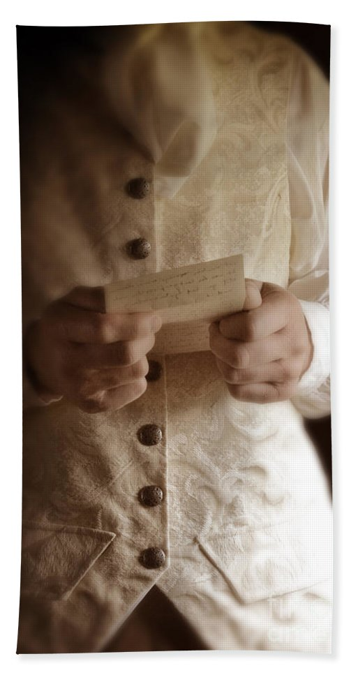 Gentleman Bath Sheet featuring the photograph Gentleman In Vintage Clothing Reading A Letter by Jill Battaglia