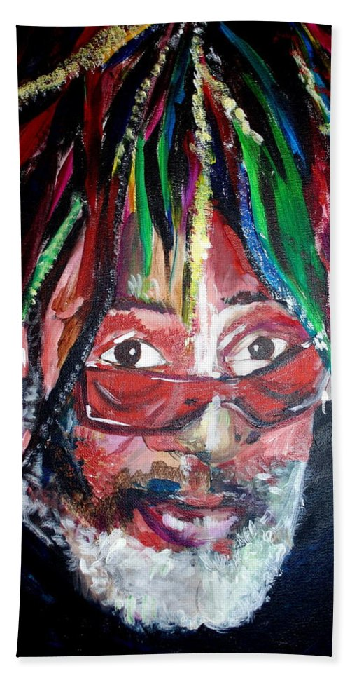 Hand Towel featuring the painting George Clinton by Kate Fortin