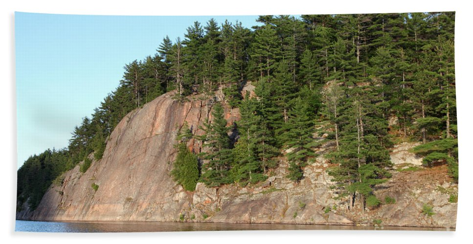 Granite Bedrock Hand Towel featuring the photograph George Lake by Ted Kinsman