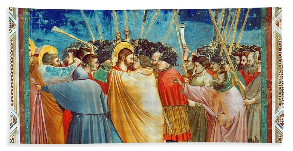 Apostle Hand Towel featuring the photograph Giotto: Betrayal Of Christ by Granger