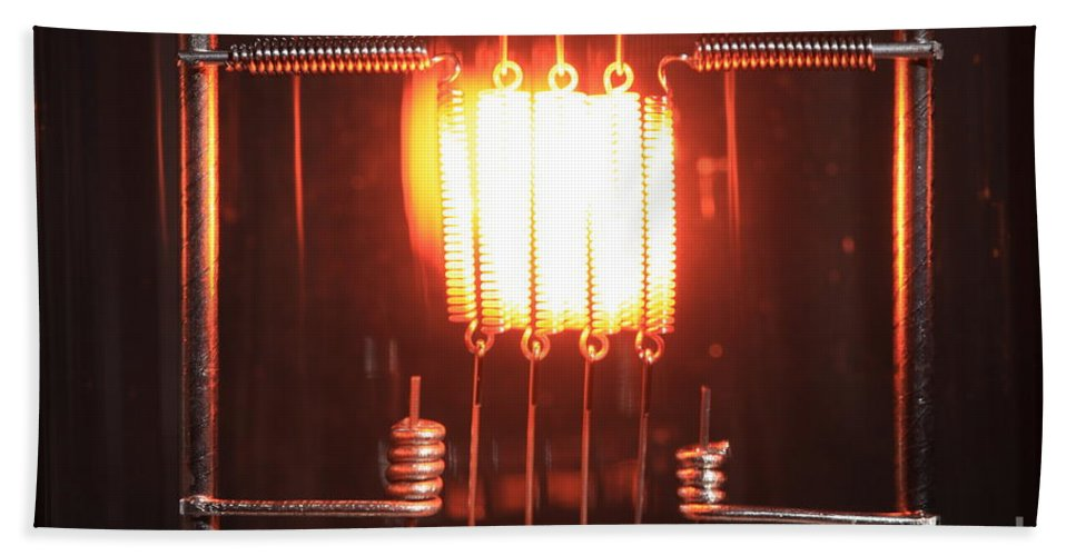 Science Hand Towel featuring the photograph Glowing Filament 4 Of 4 by Ted Kinsman