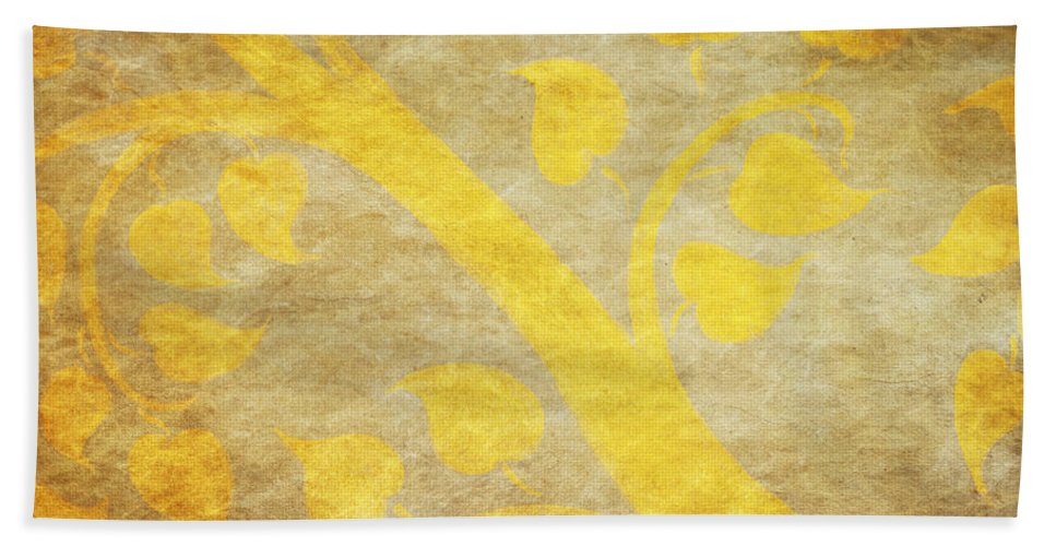 Abstract Bath Sheet featuring the painting Golden Tree Pattern On Paper by Setsiri Silapasuwanchai