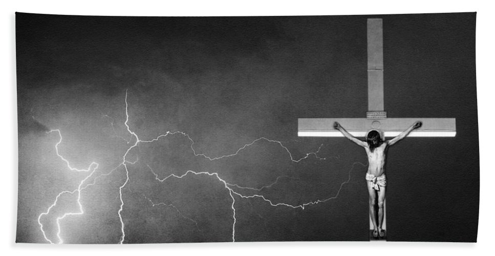 God Hand Towel featuring the photograph Good Friday - Crucifixion Of Jesus Bw by James BO Insogna
