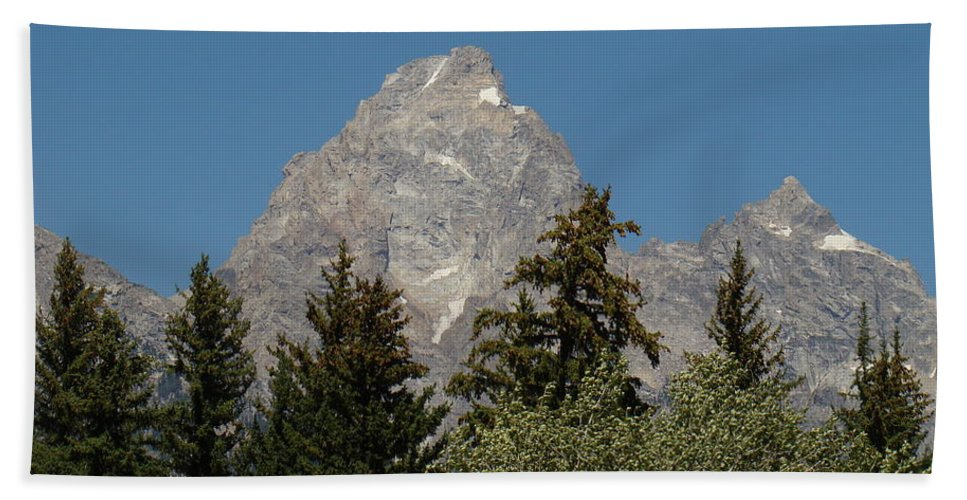 Mountain Bath Sheet featuring the photograph Grand Teton by Michael MacGregor