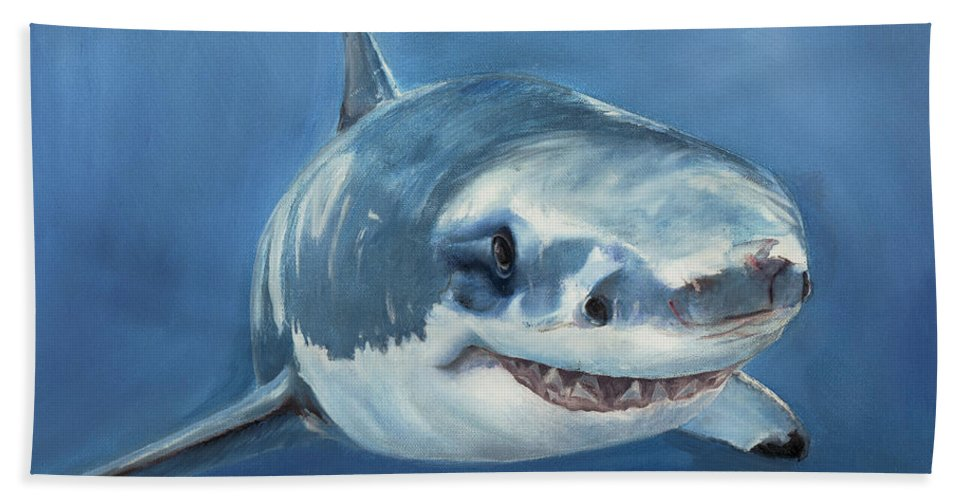 Shark Bath Sheet featuring the painting Great White by Terry Lewey