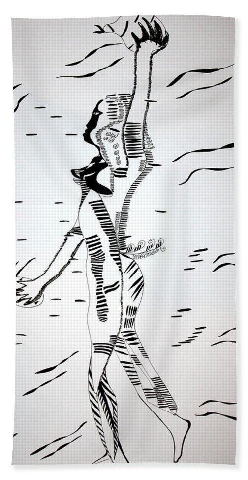 Jesus Bath Sheet featuring the drawing Gumbe Dance - Guinea-bissau by Gloria Ssali
