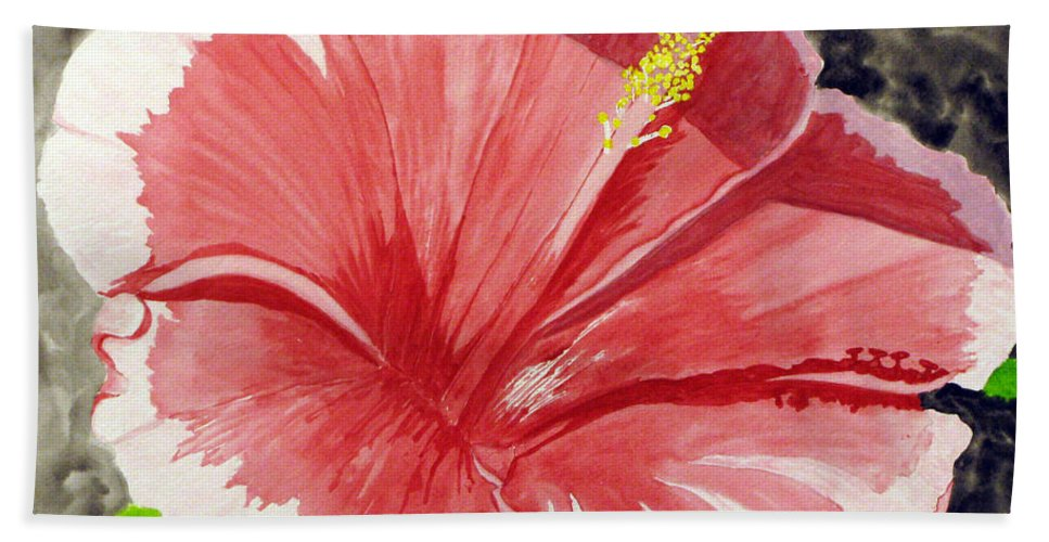 Hibiscus Bath Sheet featuring the painting Happy Hibiscus by Debi Singer