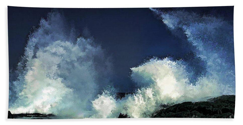 Hawaii Bath Sheet featuring the digital art Hawaiian Surf by Tommy Anderson