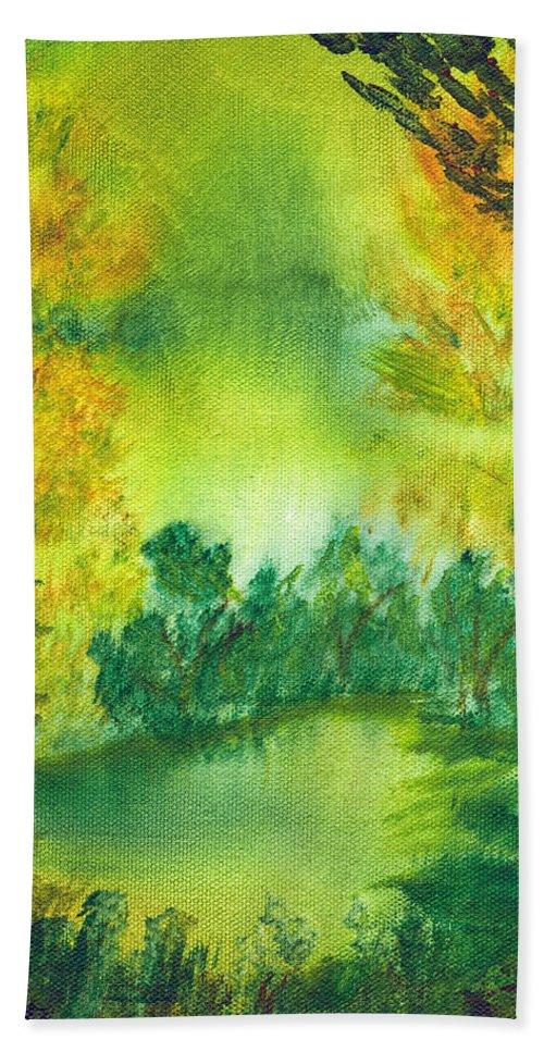 Landscapes Bath Sheet featuring the painting Hidden Pond by LeeAnn McLaneGoetz McLaneGoetzStudioLLCcom