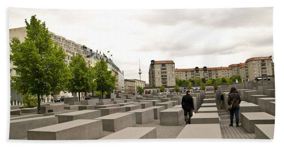 Holocaust Memorial Hand Towel featuring the photograph Holocaust Memorial - Berlin by Jon Berghoff