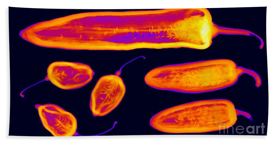X-ray Hand Towel featuring the photograph Hot Peppers by Ted Kinsman