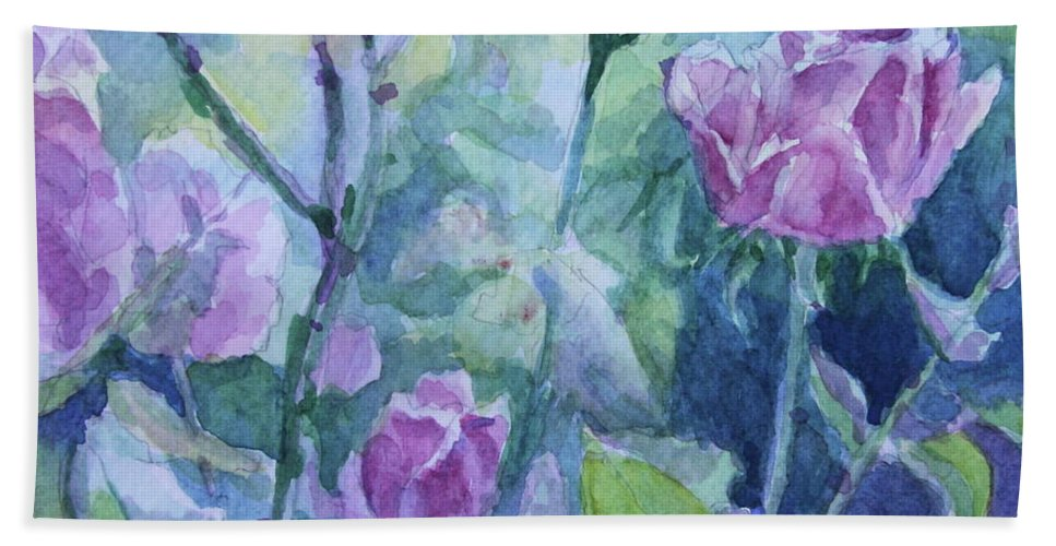Flowers Bath Towel featuring the painting How Did The Rose by Jan Bennicoff